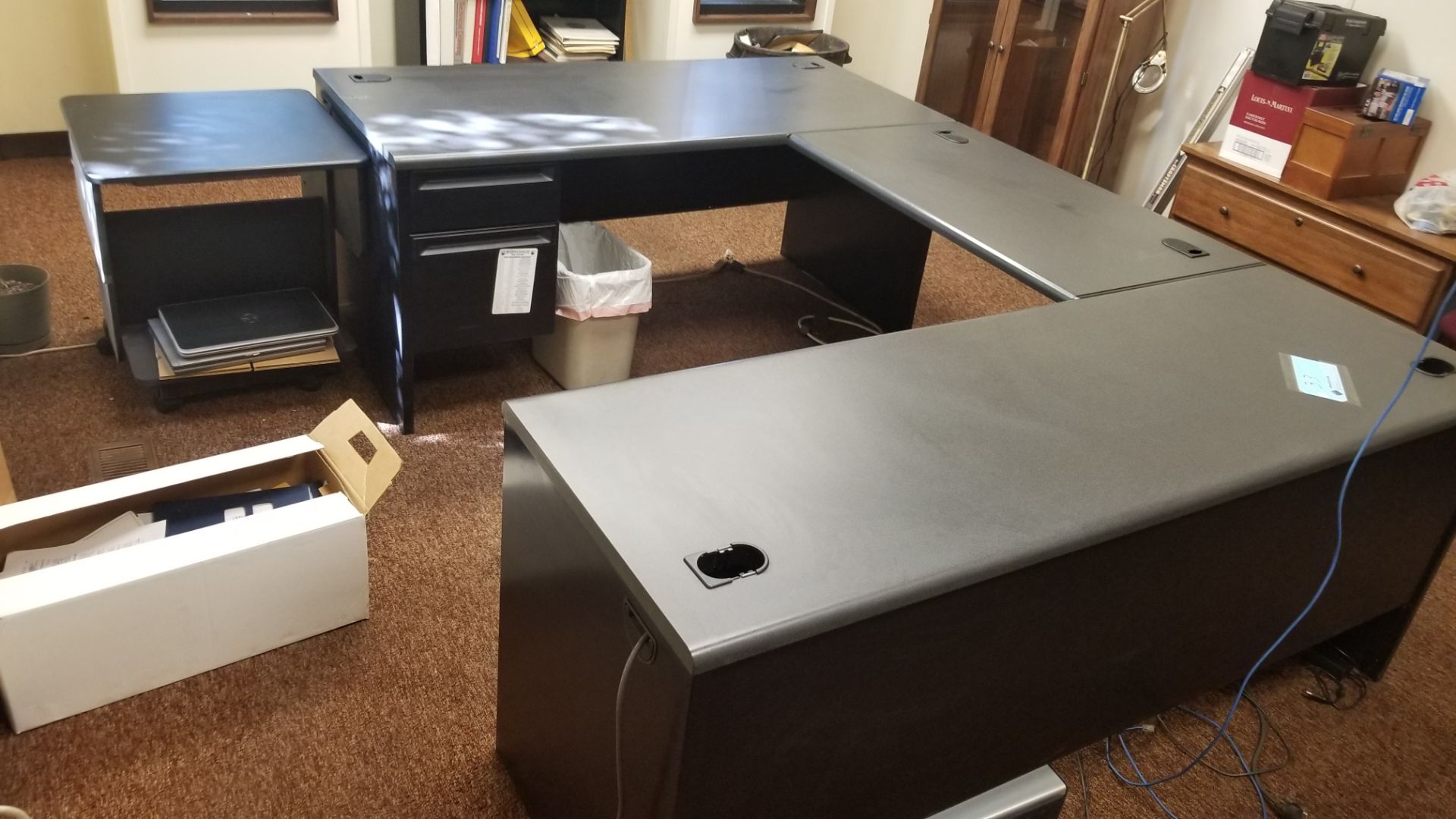"72"" x 96"" x 66"" Desk with 24"" x 24"" Extension Table, Shelf and File Cab - Image 5 of 5"