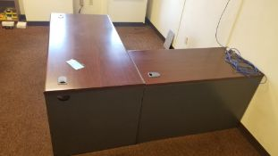 """66"""" x 78"""" Desk: Grey with Brown Top and Shelf Unit"""