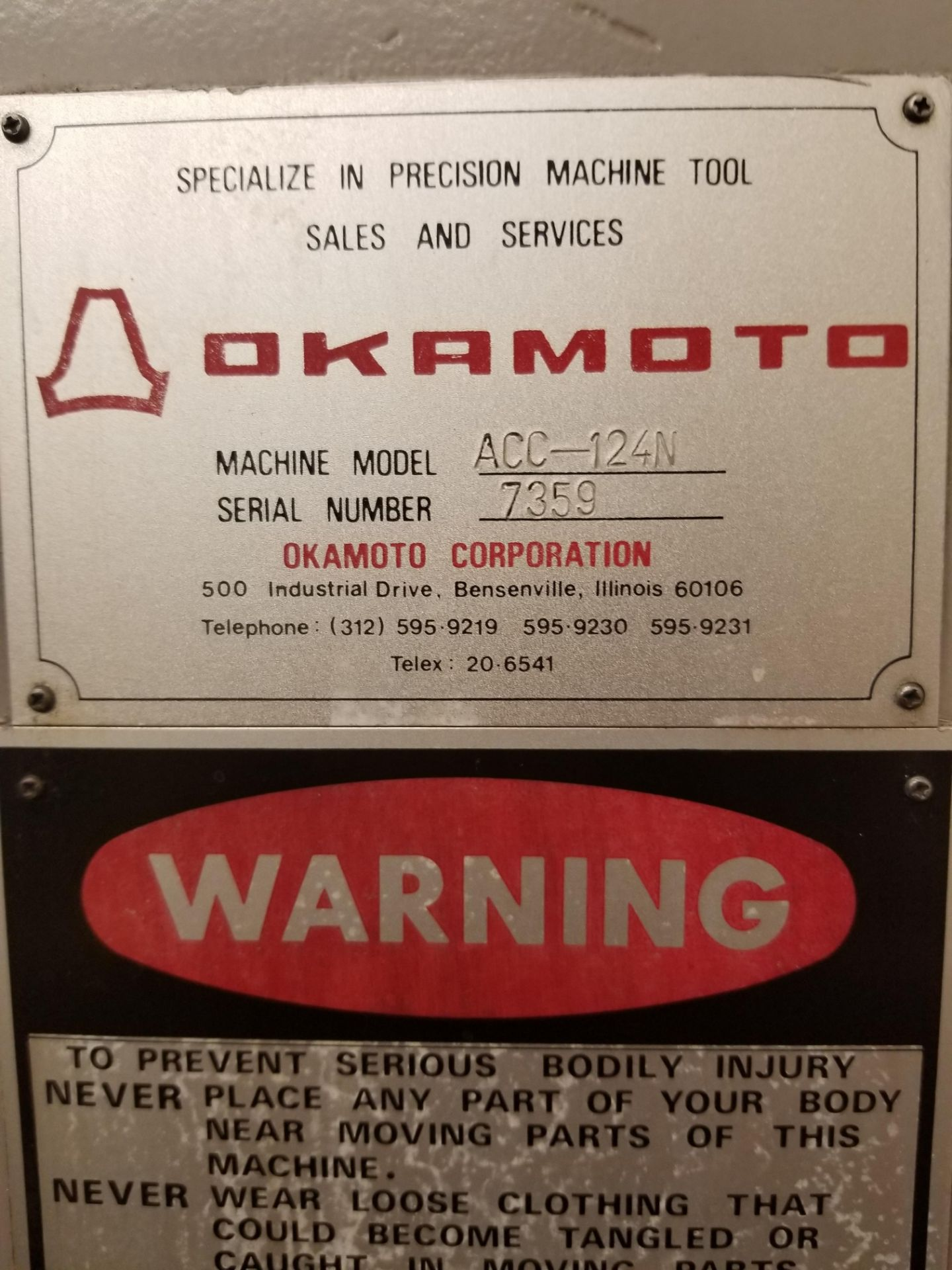 "Okamoto ACC-124N Hydraulic Surface Grinder 14"" Wheel w/ 12"" x 24"" Walker Electromagnetic Chuck - Image 11 of 14"