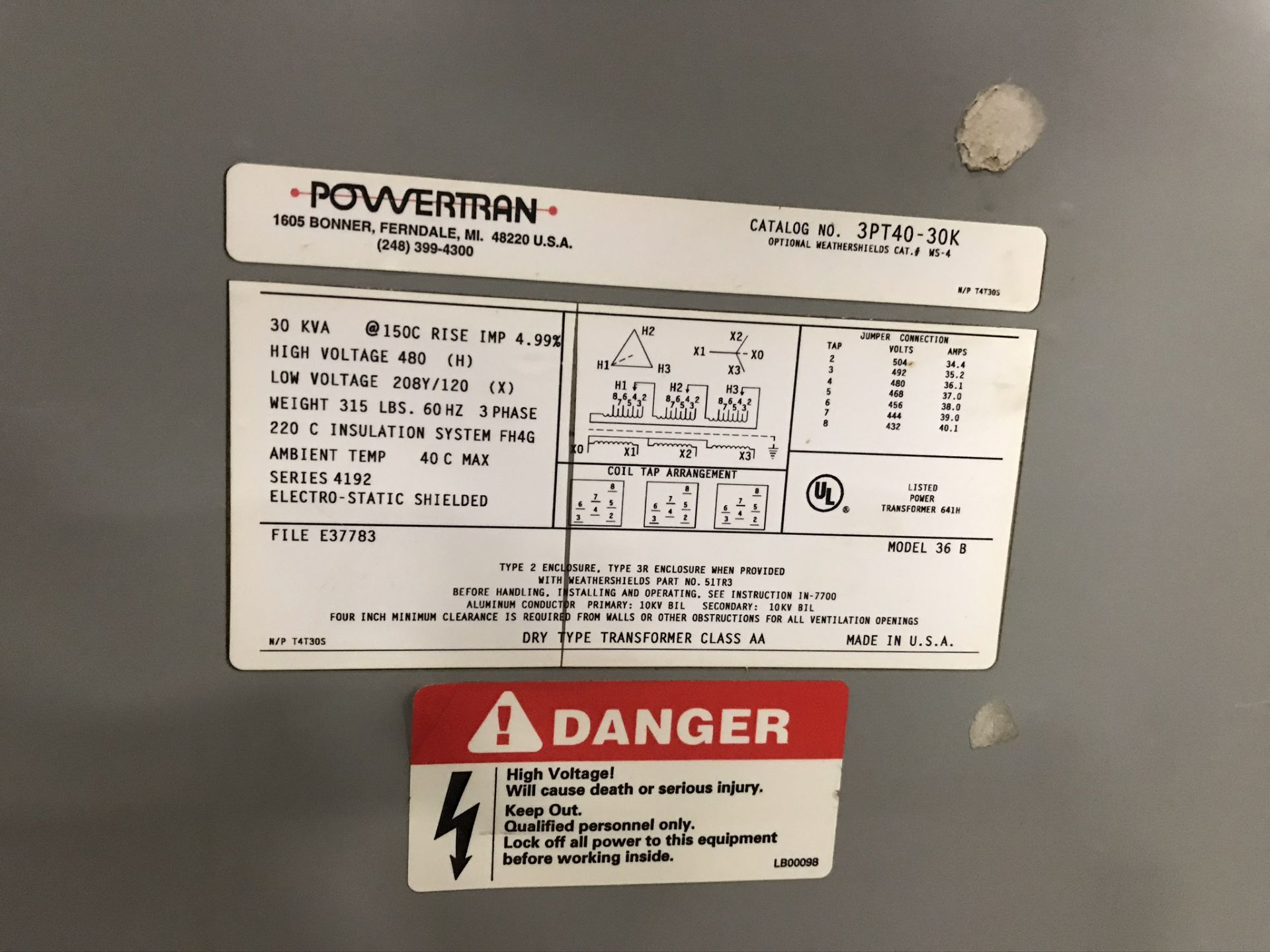 Powertran 30 KVA Transformer - Image 2 of 2