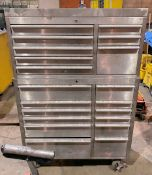 Stainless Steel 12-Drawer Rolling Tool Chest with 8-Drawer Stack Tool Box