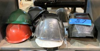Lot-Welding Helmets and Hard Hats on (2) Shelf