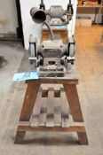 """Delta 6"""" Double End Bench Top Grinder, S/n W9733, with Wooden Stand, Work Light"""