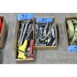 Lot-Various Hand Tools, Wrenches, Sockets, Grinder Wrenches, Rivet Gun, etc. in (2) Boxes