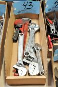 Lot-Adjustable Wrenches and Pipe Wrench in (1) Box