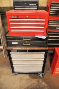 Lot-(1) Performax 3-Drawer Rolling Tool Chest & (1) Popluar Mechanics 4-Drawer Flip Top Stacker Box
