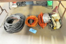 Lot-Extension Cords, Lights and Wire on Floor Under (1) Table