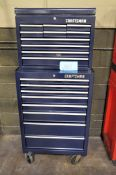 Craftsman 8-Drawer Rolling Tool Chest with 10-Drawer Flip Top Stacker Box, Blue