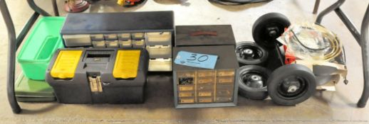 Lot-Organizers, Tool Box, Wheels, etc. on Floor Under (1) Table