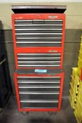 Lot-Craftsman 5-Drawer Rolling Tool Chest, 4-Drawer Stacker Box, and (1) 8-Drawer Flip Top Tool Box