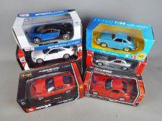 New Ray, Mondo Motors, Maisto, Bburago, Other - Six boxed 1:24 scale diecast model cars.