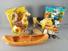 Marx - Two boxed 'The Lone Ranger' horses including 'Silver' and 'Scout' and an unboxed Canoe