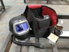 2 3M Speedglas 9100 air respirator welding helmets with Adflow battery packs, chargers and bags