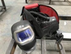 3M Speedglas 9100 air respirator welding helmet with Adflow battery pack, charger and bag. Moulded a