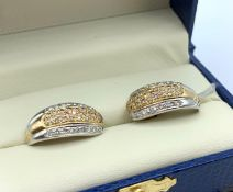 Pair of 18K White and Yellow Gold Earrings Encrusted Diamonds, weight 6.4g approx
