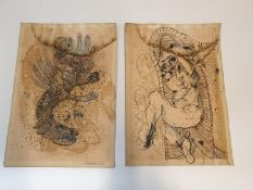 Jan Lebenstein Polish (1930 - 1999), pair of signed pen & ink coloured sketches on graph paper