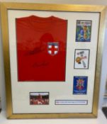 1966 England World Cup Football Winners Signed Shirt signed by Geoff Hurst and Martin Peter