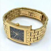 HERMES 14K GOLD Watch, square black face and solid 14k gold band presented by the Sultan of Oman and