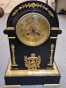 French Empire style black stone gilded Clock, 24x35x15cm