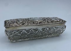 Cut Glass Trinket Box with an ornate Silver Lid by Walker & Hall dated 1904, weight 233g and 14.