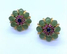 Pair of 18K Gold Earrings with Jade Leaves, Pink Rubies surrounding a central Sapphire, weight 12.7g