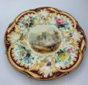 H&R Daniel Ornate Plate showing 'Melrose Abbey' in the centre surrounded by a floral border 24cm