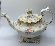 H&R Daniel Bath shape Teapot with Floral theme in good condition
