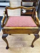 Victorian Piano Stool with lifting seat, one cushion stud missing, W44CM X H68CM