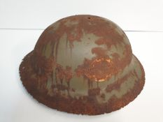 WW1 Semi Relic British Brodie Helmet-may have been rimless? Remains of a letter ?O? for the insignia