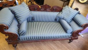 Victorian Handmade Sofa on Casters, been sympathetically restored with a blue satin stripe finish,