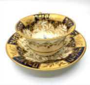 H&R Daniel Cup and Saucer with Dresden shaped handle circa 1840 (2)