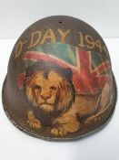 WW2 British 1944 ?Turtle? D-Day Helmet with post War Memorial painting