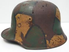WW1 Semi Relic German M16 Stahlhelm in Jigsaw Pattern Camouflage complete with liner