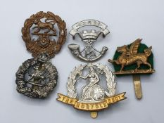 5 x British Army Territorial Cap Badges. (5)