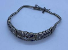 Vintage Art Deco Style Platinum & 18ct Gold Bracelet with Encrusted Diamonds (2K Total) and Sapphire