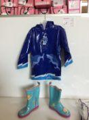 BLUE MERMAID CHILD BOOT - SIZE 2, W/ BLUE RAINCOAT
