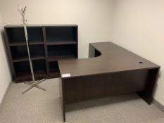 OFFICE SUITE - L SHAPED DESK, COAT RACK & 2 X BOOK SHELF