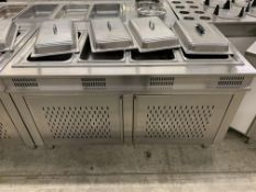 "62"" X 32"" STAINLESS STEEL - BUFFET FOOD WARMER STATION W/4 x INSERTS"