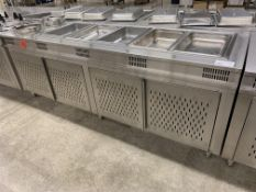 "96"" X 32"" STAINLESS STEEL - BUFFET FOOD WARMER STATION W/5 x INSERTS + 2 SOUP INSERTS"