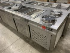"84"" X 32"" STAINLESS STEEL - BUFFET FOOD WARMER STATION W/4 x INSERTS + 2 SOUP INSERTS"