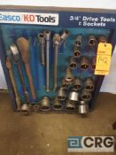 Lot of assorted easco K -D tools , assorted 3/4 inch drive tools and sockets