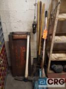 Lot of assorted yard and garage tools , including shovels, pick axe, creepers, etc.