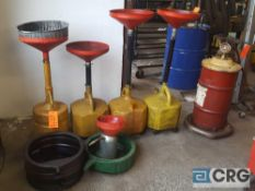 Lot of assorted motor oil recovery tanks and pans, and (1) portable Lube unit