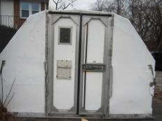 Portable storage shed with 2 swing doors