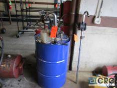 Lot includes (2) Belorank 1300-022 manual barrel pumps and 55 gal. drum approx. 1/3 full ultra