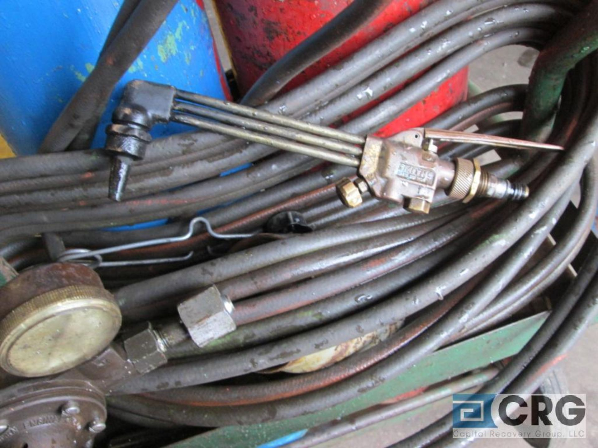Portable cut and weld unit with tanks, regulators, hose, torches, and cart - Image 4 of 4