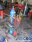 Portable cut and weld unit with tanks, regulators, hose, torches, and cart