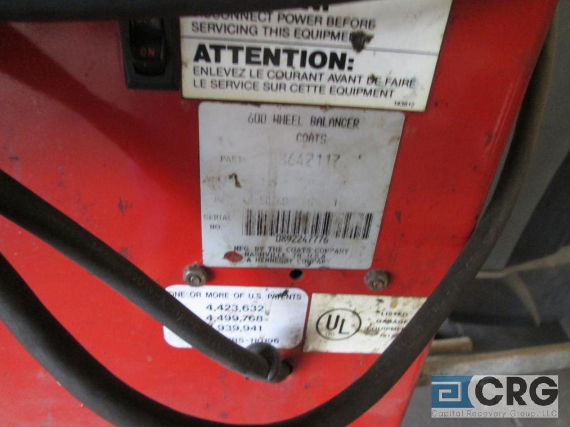 Coats 600 direct drive wheel balancer, 115V, 5 amp, 1 ph, s/n 0892247776 - Image 5 of 6