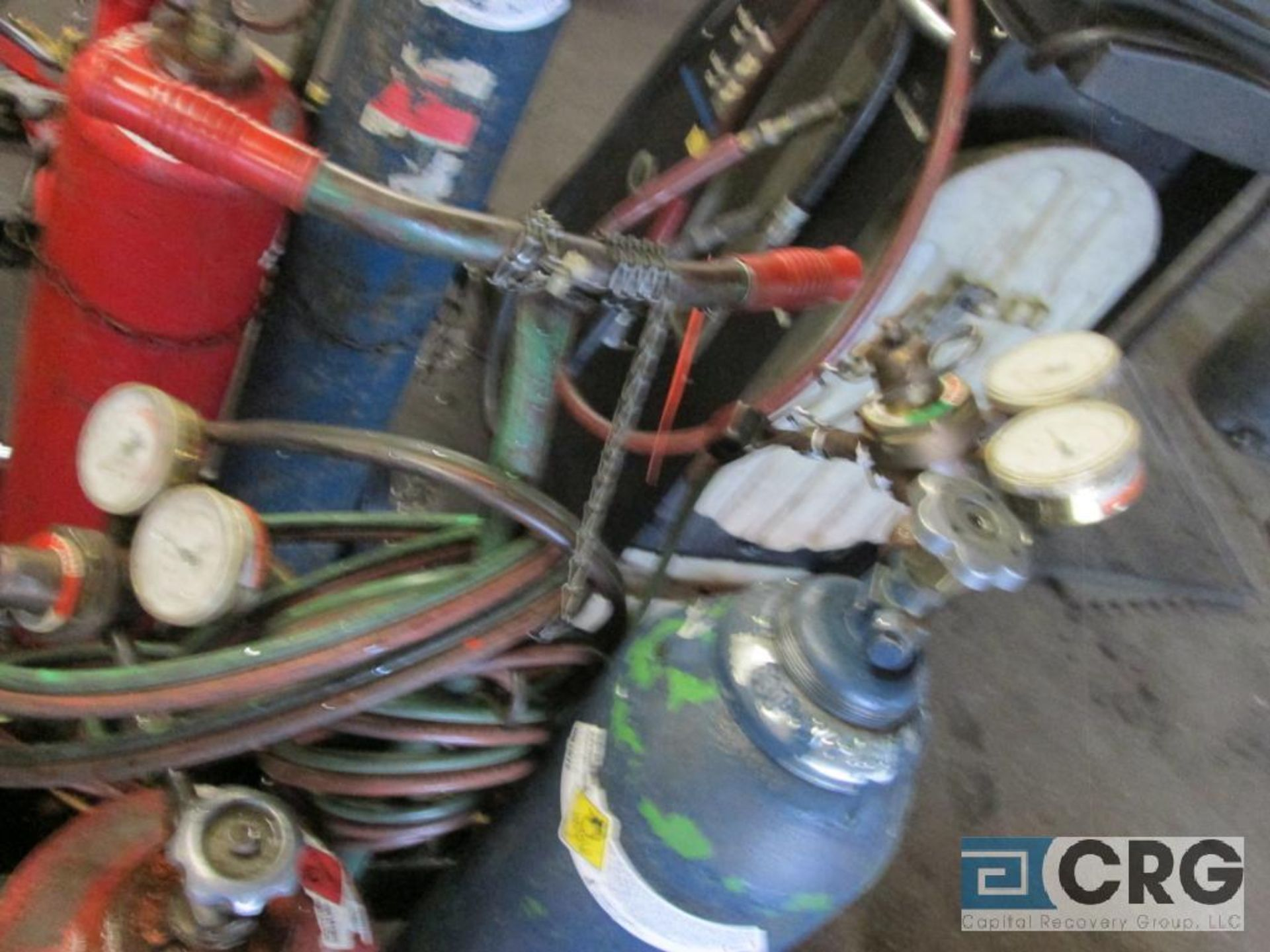 Portable cut and weld unit with tanks, regulators, hose, torches, and cart - Image 2 of 2