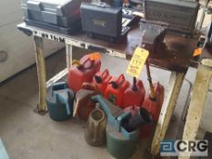 Lot of assorted fuel containers, watering cans, exhaust hoses, floor mats , etc.